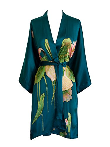 Old Shanghai Women's Silk Kimono Short Robe - Handpainted, Crane Teal, One Size.