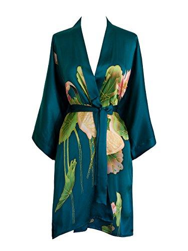 - Old Shanghai Women's Silk Kimono Short Robe - Handpainted, Crane Teal, One Size.