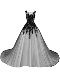 Gothic Gray Tulle Long Black Lace Sheer Bateau Prom Wedding Dresses