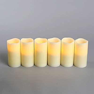 "Set of 6 Melted Edge Ivory 6"" Flameless Pillar Candles"