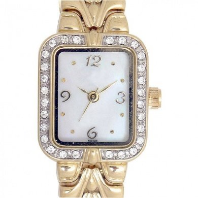 Elgin Bezel Watch (Elgin Women's Gold-Tone Herringbone Dressy Watch EG9050)