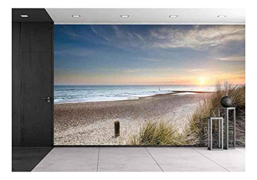 wall26 - Sunset in the Sand Dunes at Hengistbury Head near Bournemouth in Dorset - Removable Wall Mural | Self-adhesive Large Wallpaper - 66x96 inches (Beach Mural)