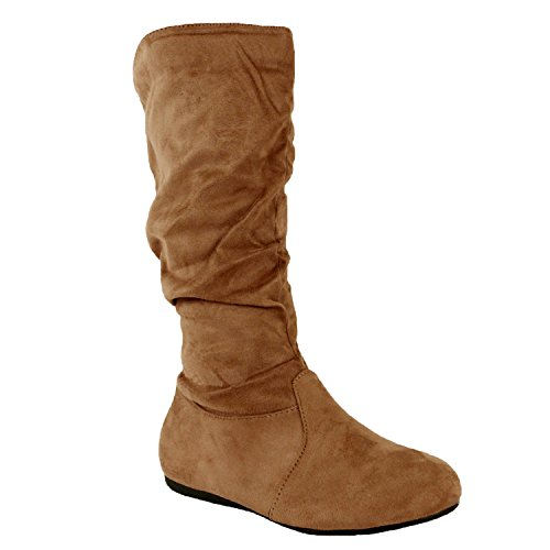 Guilty Shoes Womens Mid Calf - Comfortable Slouchy - Solid Color Flat Heel Boots, Taupe Suede, 6.5