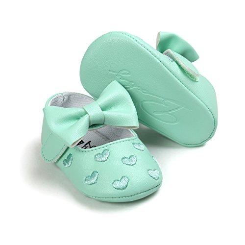 Zapatos de bebé,Auxma Niña Bowknot zapatos de cuero zapatillas antideslizante suave niño único para 0-18 meses Verde