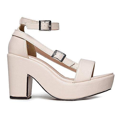 f9df8b7051e 60%OFF Chunky Platform Strappy Sandal - Ankle Strap Block Heel - Flatform Casual  Shoe