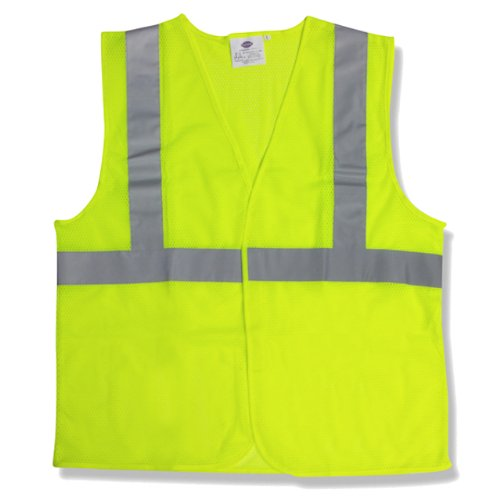 GloWear 8210HL ANSI Economy High Visibility Lime Reflective Safety Vest, Hook & Loop Closure, Large/X-Large (Reflective Fire 1 Inch Glass 2)