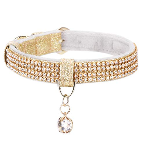 - PetsHome Dog Collar, Cat Collar, Premium PU Leather with Bling Rhinestones and Pendant Adjustable Collars for Small Dog and Cat Small Gold