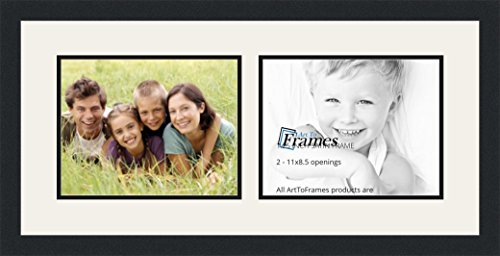 ArtToFrames Double-Multimat-243-61/89-FRBW26079 Collage Photo Frame Double Mat with 2-8.5x11 Openings and Satin Black Frame, Super White, 2-8.5x11