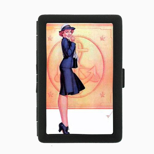Vintage Navy Sailor Petty Girl Pin Up Black Color Metal Cigarette Case Holder Box D-073