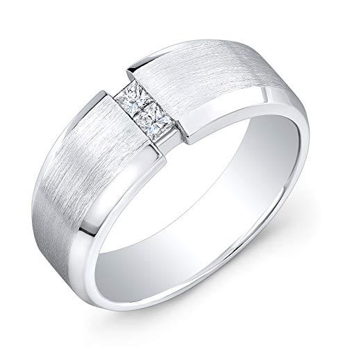 (Men's Platinum Princess Cut Diamond channel wedding band 0.20 ctw )