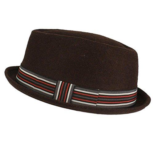 (Men's Winter Wool Blend Pork Pie Derby Fedora Stripe Hatband Hat M/L Brown)