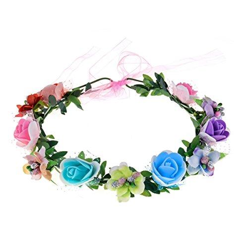 June Bloomy Rose Floral Crown Wreath Girls Flower Headband Boho Garland Halo Headpiece (Rainbow)