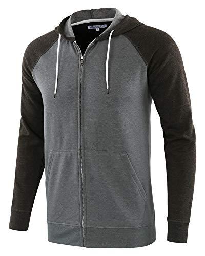 HARBETH Men's Athletic Fit Full Zip Fleece Hooded Sweatshirt Active Hoodie H.Army/H.Charcoal XL (Army Zip Hoodie)
