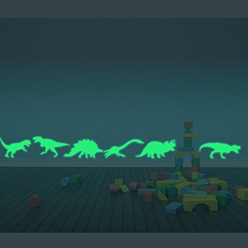 ufengke® 9-pcs Dinosaurs Wall Decals Fluorescence Stickers Glow in The Dark, Children's Room Nursery Removable Wall Stickers Murals