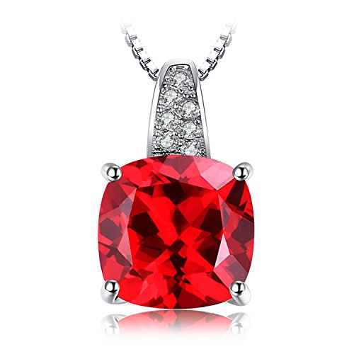 JewelryPalace Cushion 4.9ct Created Red Ruby 925 Sterling Silver Solitaire Pendant Necklace 18 Inches