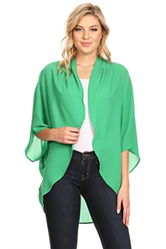 (Solid Casual Lightweight 3/4 Sleeve Loose Fit Open Front Cardigan/Made in USA Green 3XL)