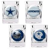 NFL Dallas Cowboys Four Piece Square Shot Glass Set (Individual Logos)