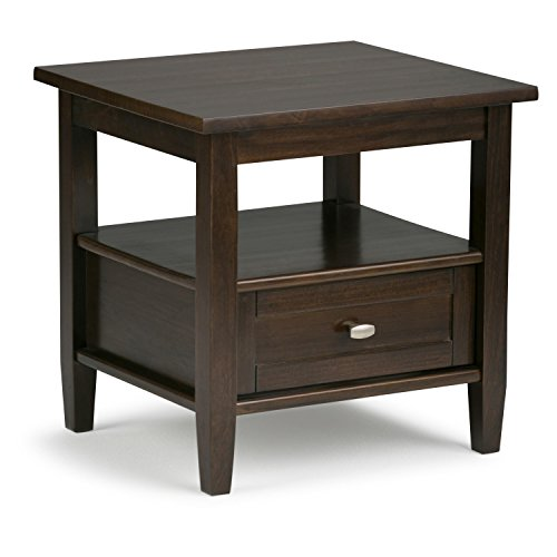 Large End Drawer - Simpli Home Warm Shaker Solid Wood End Side Table, Tobacco Brown