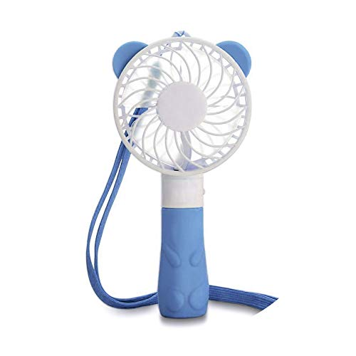 Cartoon Creative Handheld Fan Personal Electric Cooling Portable Fan USB Battery Powered Mini Fan Strong Airflow for Home&Travel,Blue