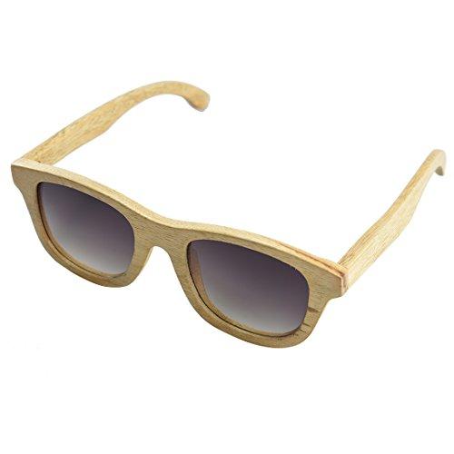 BEWELL Holz Sonnenbrille Polarisiert, G001A Damen Sportbrille Retro Vintage Wood Sunglasses for Women Polarized UV Protection (Kampferholz)