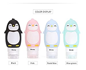Travel Bottles Set of 4, Leak Proof Refillable Squeezable Silicone Travel Container Kit for Shampoo Cosmetic Lotion Toiletries Liquid, Travel Accessories for Vacation Business Trip-TSA Approved 3OZ from ANREONER
