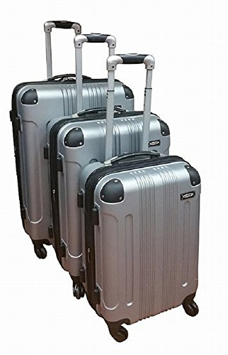 Kemyer 650 Lightweight 3-PC Expandable Hardside Spinner Luggage Spinner Set (Silver)