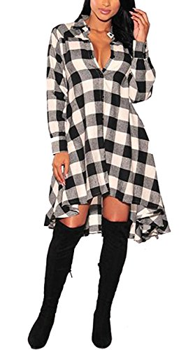 OLRAIN Womens New Plaids Irregular Hem Casual Shirt Dress X-Large White (Sweater Boots Dresses)