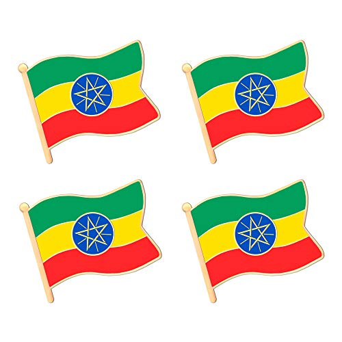 ALEY Ethiopia Ethiopian Flag Lapel Pin Decorations (4 Pack)