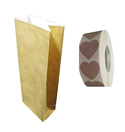 TodoKraft 50 Bolsas de Papel Kraft, Interior Forrado Papel Blanco, tamaño 7 x 20 cms con Etiqueta Corazón Cierre