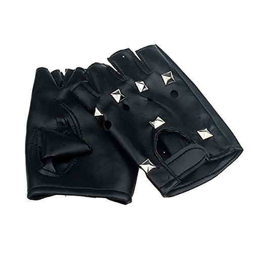 Besde Fashion Womens Girls Ladies Theatrical Punk Hip-hop PU Black Half-finger Leather Gloves Square Nail for Women Gift (Black) - Black Theatrical Child Gloves