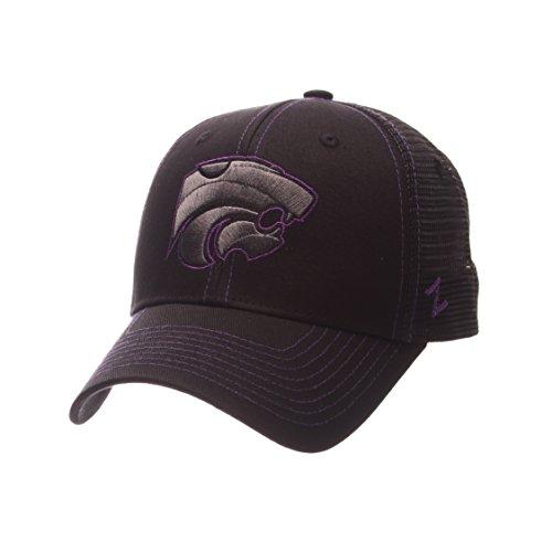 Zephyr NCAA Kansas State Wildcats Adult Men's Staple Trucker Blackout Cap, Adjustable Size, Black (Cap Wildcats State)