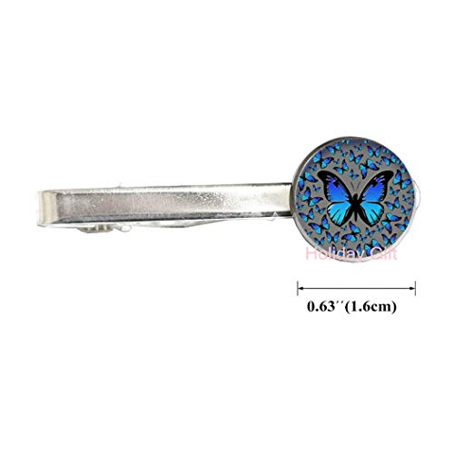 Holiday gift Iridescent Blue Butterfly Tie Clip, Butterfly Tie Clip, Butterfly Tie Pin, Butterfly Jewelry, Iridescent Blue Butterfly, Tie Pin,H102 (S1)