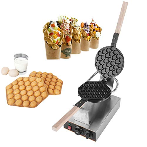 Cheapest Prices! Egg Cake Maker, Stainless Steel Electric Egg Cake Oven with Wood Handle Temperature Adjustable Puff Bread Maker Professional Bake Machine 110V US Plug