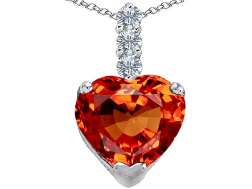 Star K Large 12mm Heart Shape Simulated Mexican Orange Fire Opal Pendant Necklace Sterling Silver