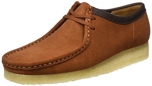 Suede Basse Tan dark Clarks Wallabee Stringate Brogue Scarpe Marrone Originals Uomo wzvqIT6