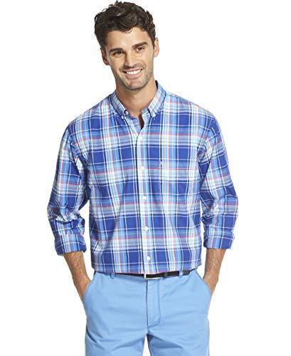 IZOD Men's Breeze Button Down Long Sleeve Plaid Shirt, Mazarine Blue XX-Large
