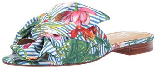 The Fix Women's Naomi Oversized Bow Slide Flat Sandal, Floral Stripe Print Satin, 8 B US