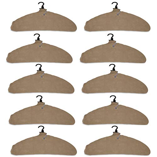Quick Dry Inflatable Laundry Hangers, Large - Allows Further Sepration To Dry Faster - Deflates For Compact Storage And Travel - Curved Edges Prevent Hanger Crease - Clothes Hangers, Tan - Pack of 10