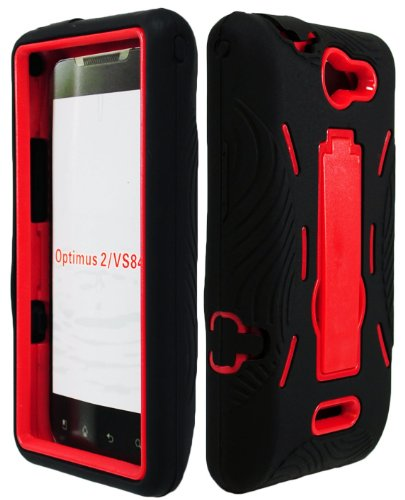 Bastex BasTexWireless 2 in 1 Hybrid Case for LG Lucid/Optimus Exceed (VS840) - Black Silicone & Red Hard Shell with Kickstand (Lg Lucid 2 Phone Cases)