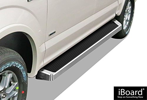 APS iBoard (Silver Running Board Style) Running Boards | Nerf Bars | Side Steps | Step Rails for 2015-2019 Ford F150 SuperCrew Cab Pickup 4-Door / 2017-2019 Ford F-250/F-350 Super Duty