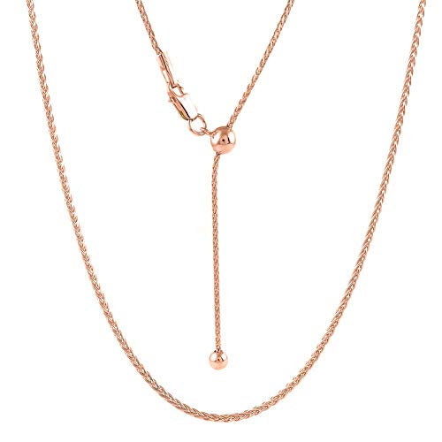 - Sterling Silver 1.4MM Diamond Cut Adjustable Wheat Chain Necklace 24' - Adjustable Fox Tail Spiga Necklace in 4 Colors (Rose Gold)