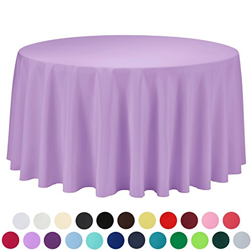 VEEYOO 108 inch Round Solid Polyester Tablecloth for Wedding Restaurant Party , Lavender
