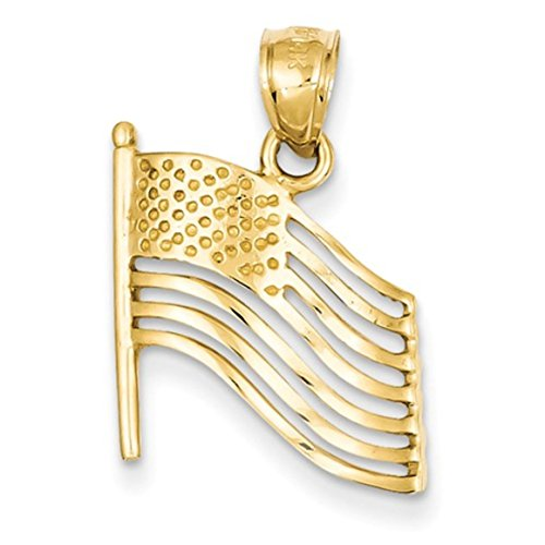 14K Yellow Gold Polished Cut-Out US United States of America Flag Charm Pendant ()