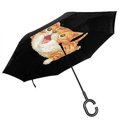 New Wanli Cars Reverse Umbrella Tabby Cat to Look Up at Double Layer Inverted Umbrella, UV Protection Windproof Large Straight Umbrella for Car Rain Outdoor with C-Shaped Handle