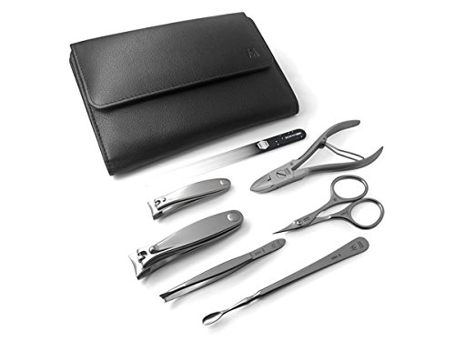 GERManikure 7pc matte stainless steel manicure set in black leather case with magnetic closure by GERmanikure