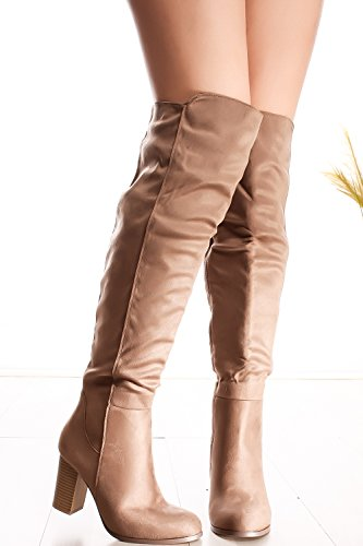 Lolli Couture Young Aloud Floral Lace Design Back Zipper Peep Toe Front Lace Over The Knee Platform High Heel Boots taupe-frances-15 iDLk18