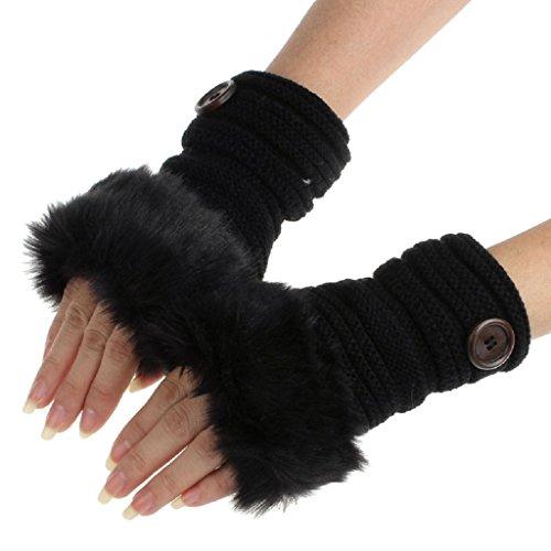 Tenworld Women Girl Winter Warm Faux Rabbit Fur Wrist Fingerless Gloves Mittens (Black)