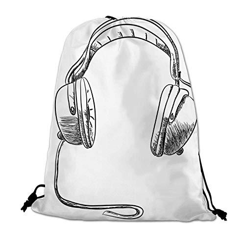 Music Lightweight Drawstring Bag,Sketch Style Hand Drawn DJ Headphones Rhythm Radio Modern Hippie Art Illustration for Travel Shopping,One_Size ()