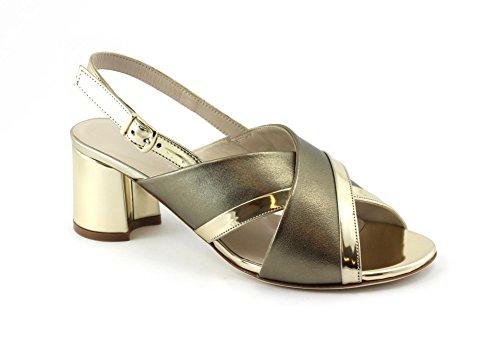 Pelle Sandali D'oro Alba Scarpe Oro Laminata S530 Donna Melluso Tacco Cinturino q4PUn