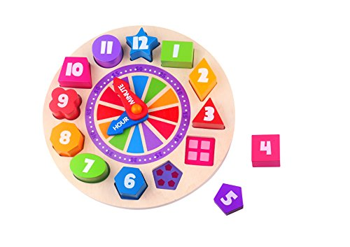 Wooden Shape Sorting Finduq Clock Puzzle Teaching Clocks Number Puzzle Learning Toy for Kids by FINDUQ